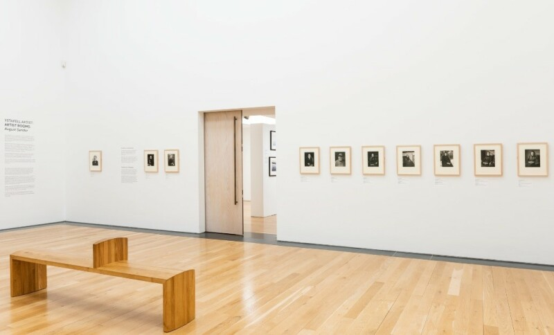 A photograph of the ARTIST ROOMS: August Sander exhibition, showing the east wall of the gallery