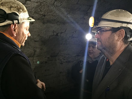 Conversation between two people underground in Big Pit