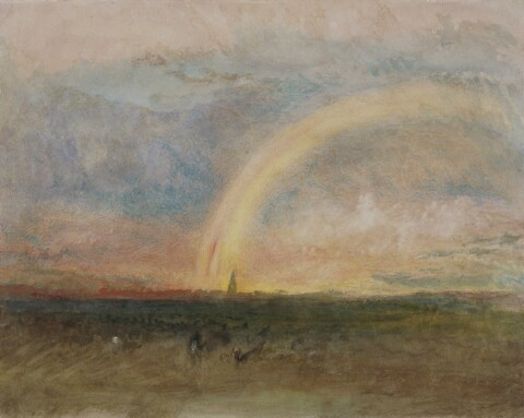 Watercolour painting showing a rainbow over a village with a high church spire