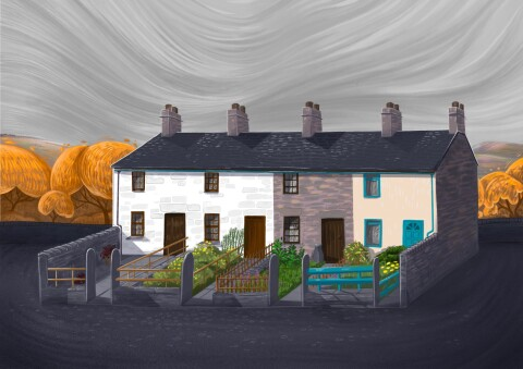 Painted picture of the Fron Haul row of houses