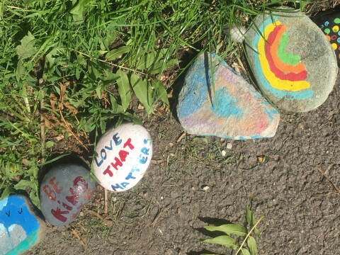 Painted pebbles in Chepstow, Monmouthshire