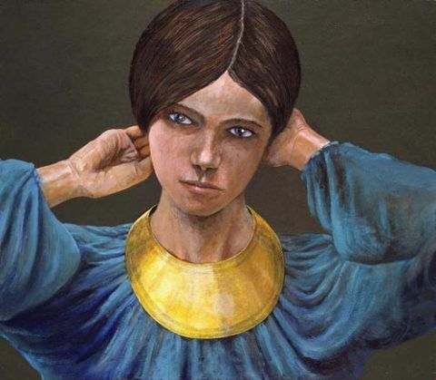 Reconstruction of a lady wearing a gold lunula