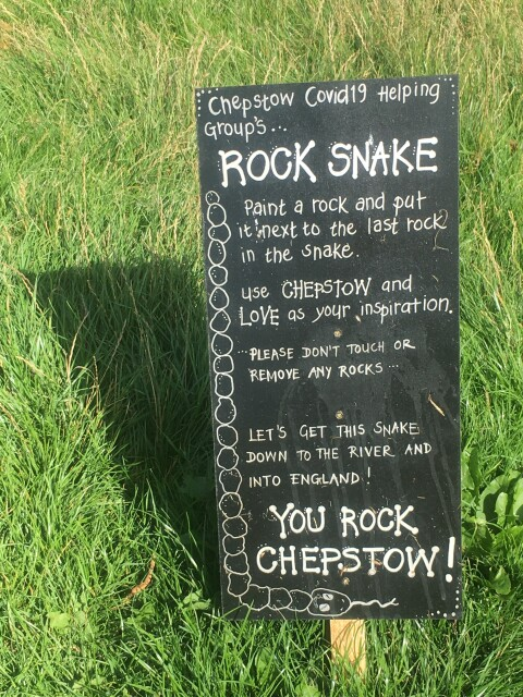 The pebble rock snake in Chepstow, Monmouthshire