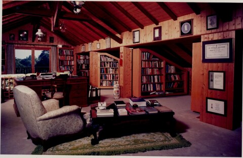 Richard Burton's library at Villa Le Pays de Galles, Céligny, Switzerland.