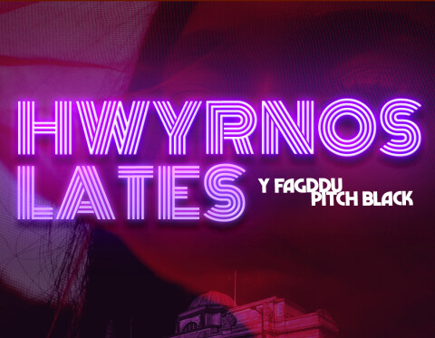 Lates Pitch Black text with Cardiff Museum as background