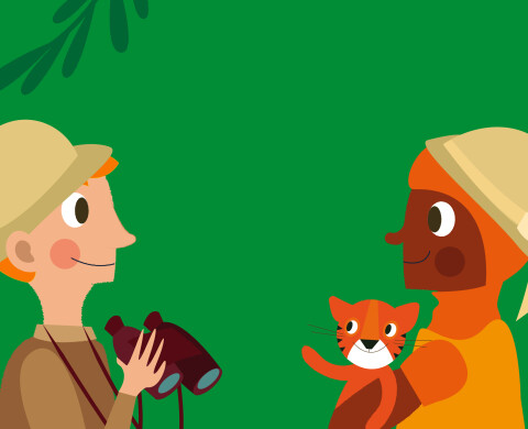 Two animated explorers facing each other in the jungle