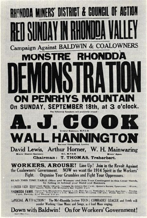 Poster advertising 'Red Sunday in Rhondda Valley' demontration