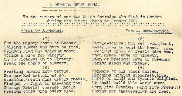 'A Rhondda Rebel Song' (to the tune of Cwm Rhondda)