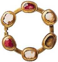 14th century Welsh gold brooch, set with rubies and cameos