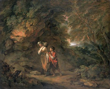 Rocky Landscape with Hagar and Ishmael