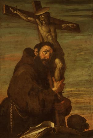 St Francis of Assisi embracing a Crucifix