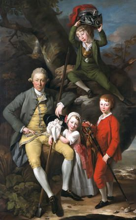 Henry Knight of Tythegston (1738-1772) with his three children