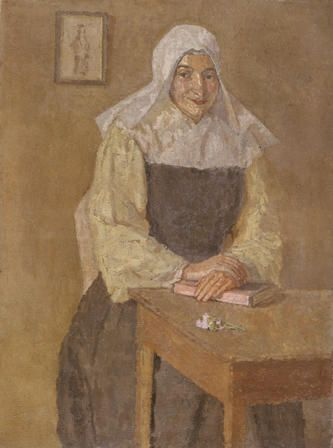 Mere Poussepin seated at a Table
