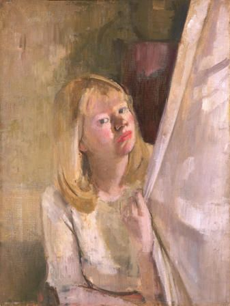 Girl at a Curtain