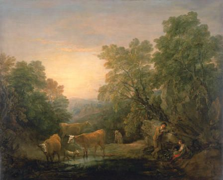 Rocky Wooded Landscape with Rustic Lovers, Herdsman and Cows