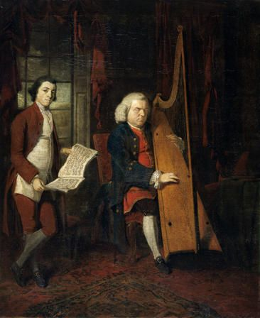 John Parry the Blind Harpist (d.1782) with an Assistant