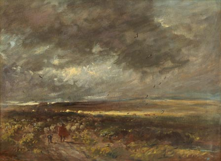 Moorland Landscape: Shepherd and Sheep