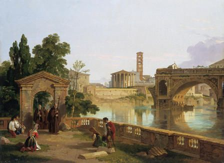 The Tiber with the Temple of Vesta, Santa Maria in Cosmedin and the Ponte Rotto seen from the Convent of San Bartolomeo