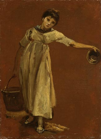 Girl carrying a Pail