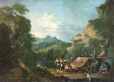 Landscape with Banditti round a Tent