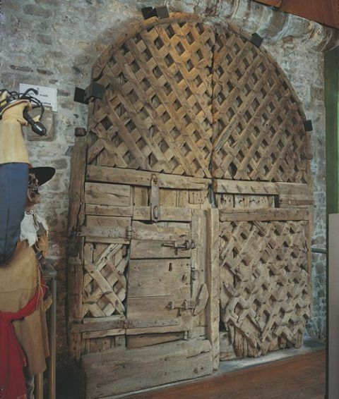 Wooden gates at Chepstow Castle dating from the 1190s