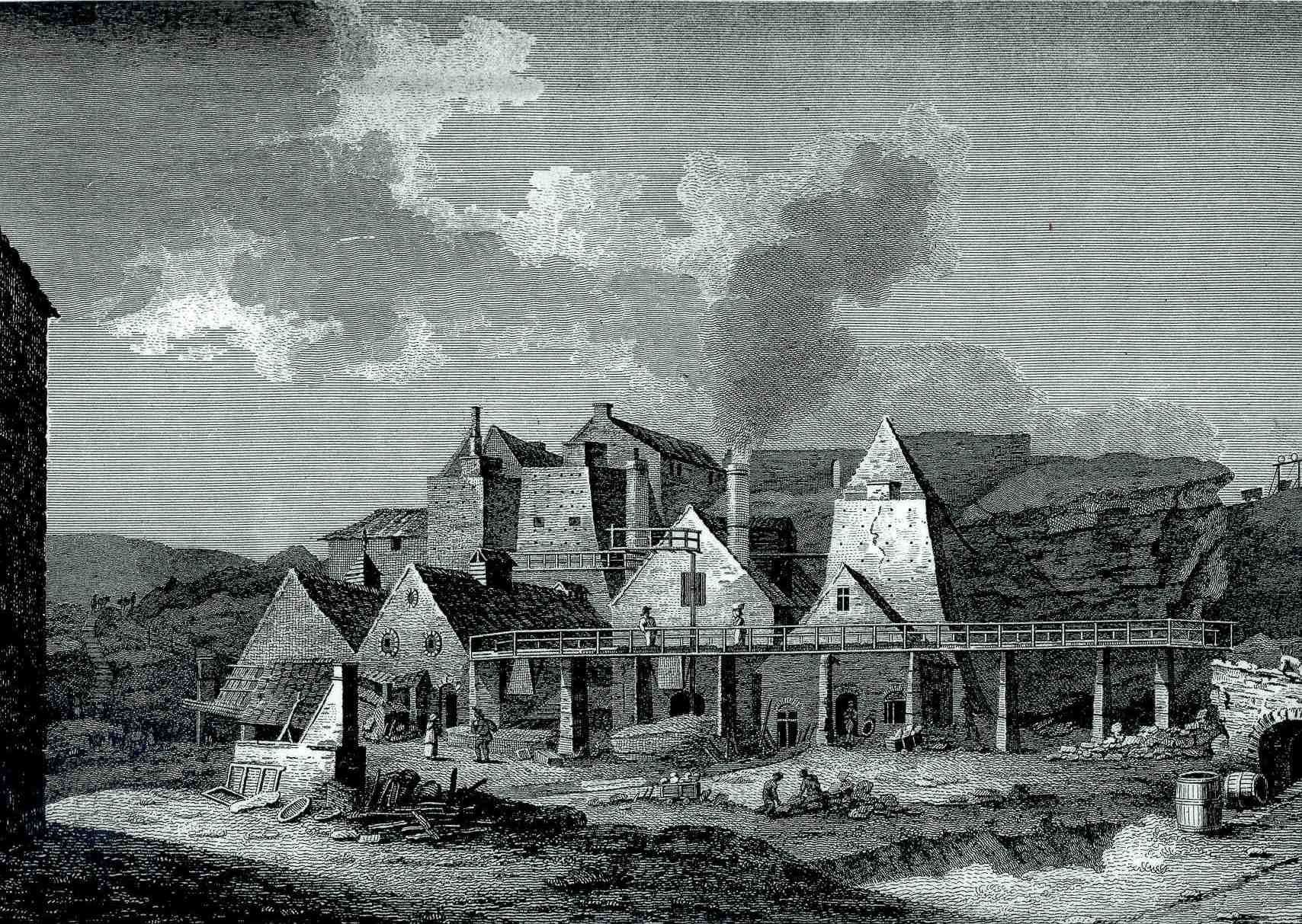 A print of Blaenavon Iron Works in about 1800 from a drawing by Sir Richard Colt Hoare.