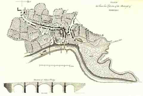 <strong>Newport in 1800</strong><br /> A plan of Newport in 1800. A small, sleepy medieval town, Newport was soon to become a great port and the outlet for the products of the Monmouthshire iron works like Blaenavon.