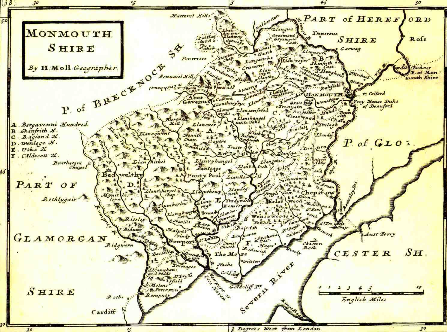 <strong>Monmouthshire in 1724</strong><br /> Map of Monmouthshire in 1724 by Herman Moll.