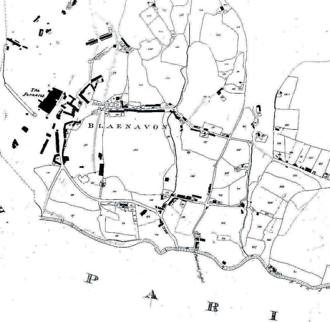 <strong>Blaenavon map 1843</strong><br /> Plan of Blaenavon taken from tithe map of 1843.