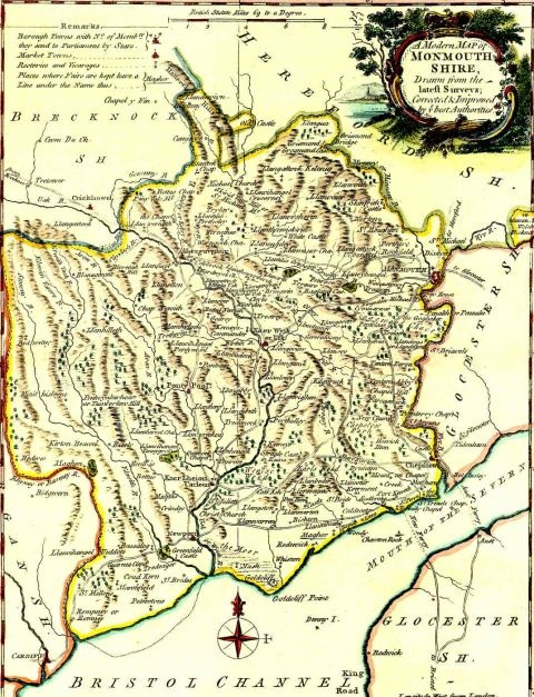 <strong>Monmouthshire map, 1765</strong><br /> A map of Monmouthshire by J. Ellis, published in 1765.