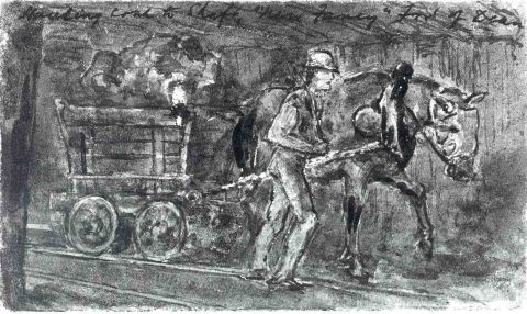 <strong>Haulier</strong><br /> Illustration of a haulier in a colliery, around the middle of the 19th century.