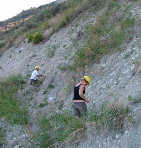 Collecting sediment samples from Italy to study climate change about 12 million years ago