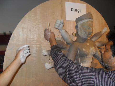 Placing the fingers on the Goddess Durga's hands