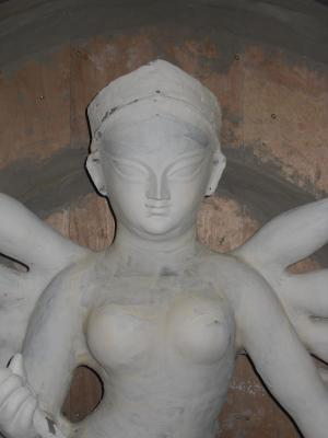 A white Durga - now sealed with the glue mixture and ready for painting!