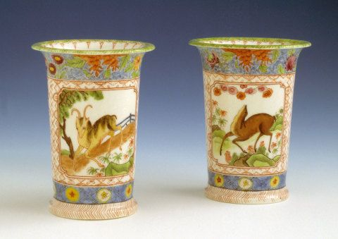 Swansea China Works, pair of porcelain spill vases painted by Mary Moggridge, 1819