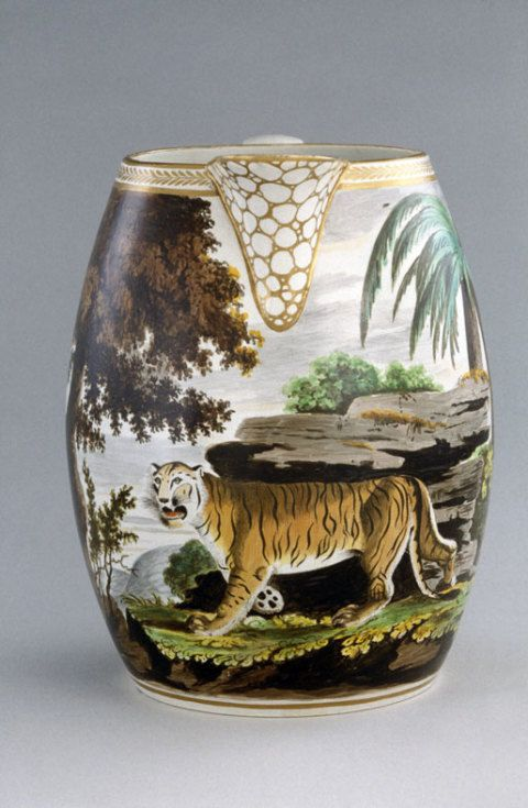 Cambrian Pottery, Swansea, earthenware jug painted by Thomas Pardoe