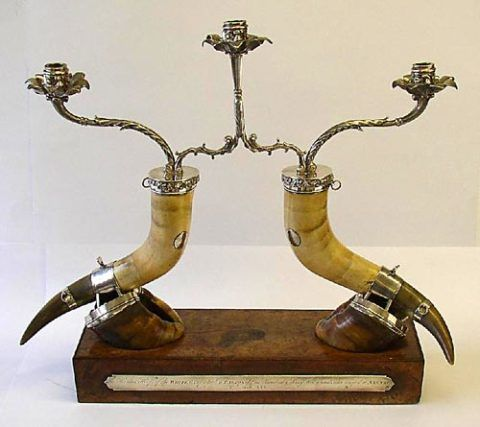 Candelabrum made from two horns and hoofs of the Nannau Ox
