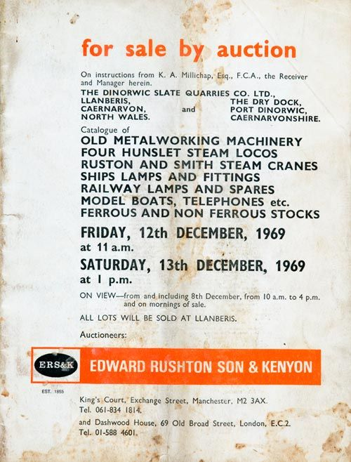 Dinorwig Quarry auction catalogue