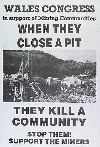 Wales Congress poster supporting miners