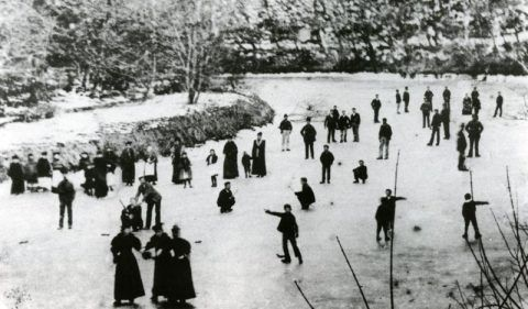 Villagers skating on the frozen Teifi during the cold winter of 1891