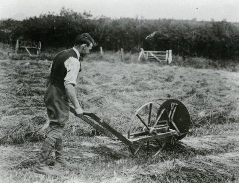 An ingenious manually-operated hay-turning machine invented by local farmer, Arthur John Davies, Penwenallt.
