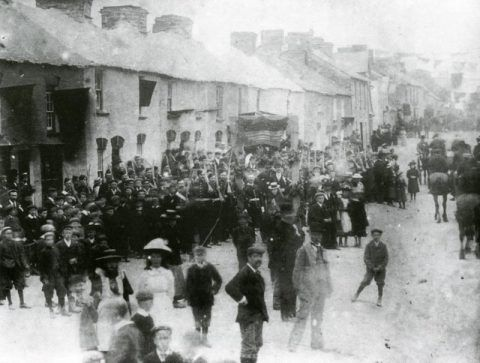 The Band of the Cardigan Volunteer Corps marching down Cilgerran High Street 1902