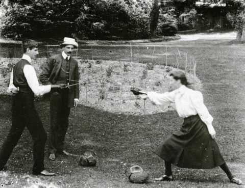 Miss Rita Morgan Richardson fencing with her brother